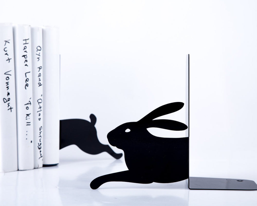 Metal Bookends - Hare on the run - Bookshelf decor / woodland nursery theme // housewarming / Christmas gift for book lover // Free Shipping - Design Atelier Article