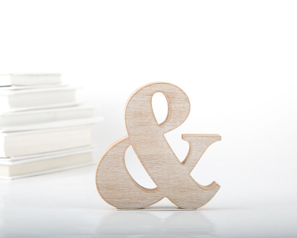 wooden ampersand bookends