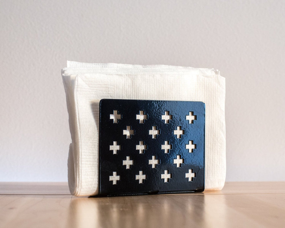 Napkin holder-dispenser Black Swiss Crosses laser cut metal // Modern kitchen decor // Housewarming gift // Christmas gift // FREE SHIPPING - Design Atelier Article