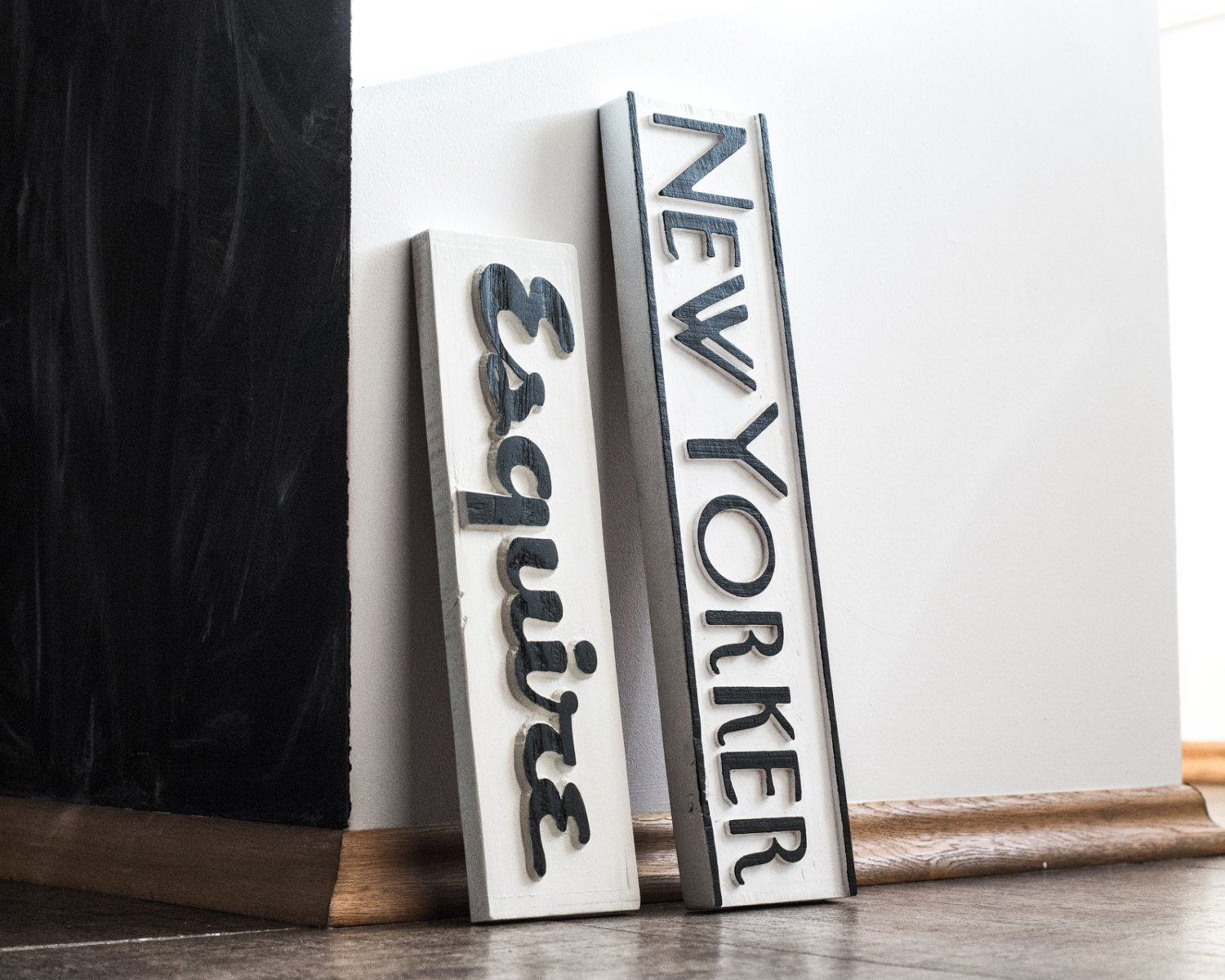 New Yorker Wood Sign // Art Deco Typography Crafted from Salvaged Wood // Black and White Wall Art