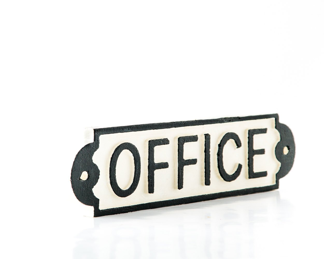 Sign OFFICE wooden retro style sign carved in salvaged wood hand painted