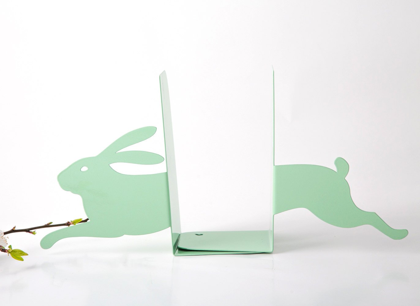 Nursery Bookends - Hare on the run mint // new baby shower present // FREE SHIPPING - Design Atelier Article