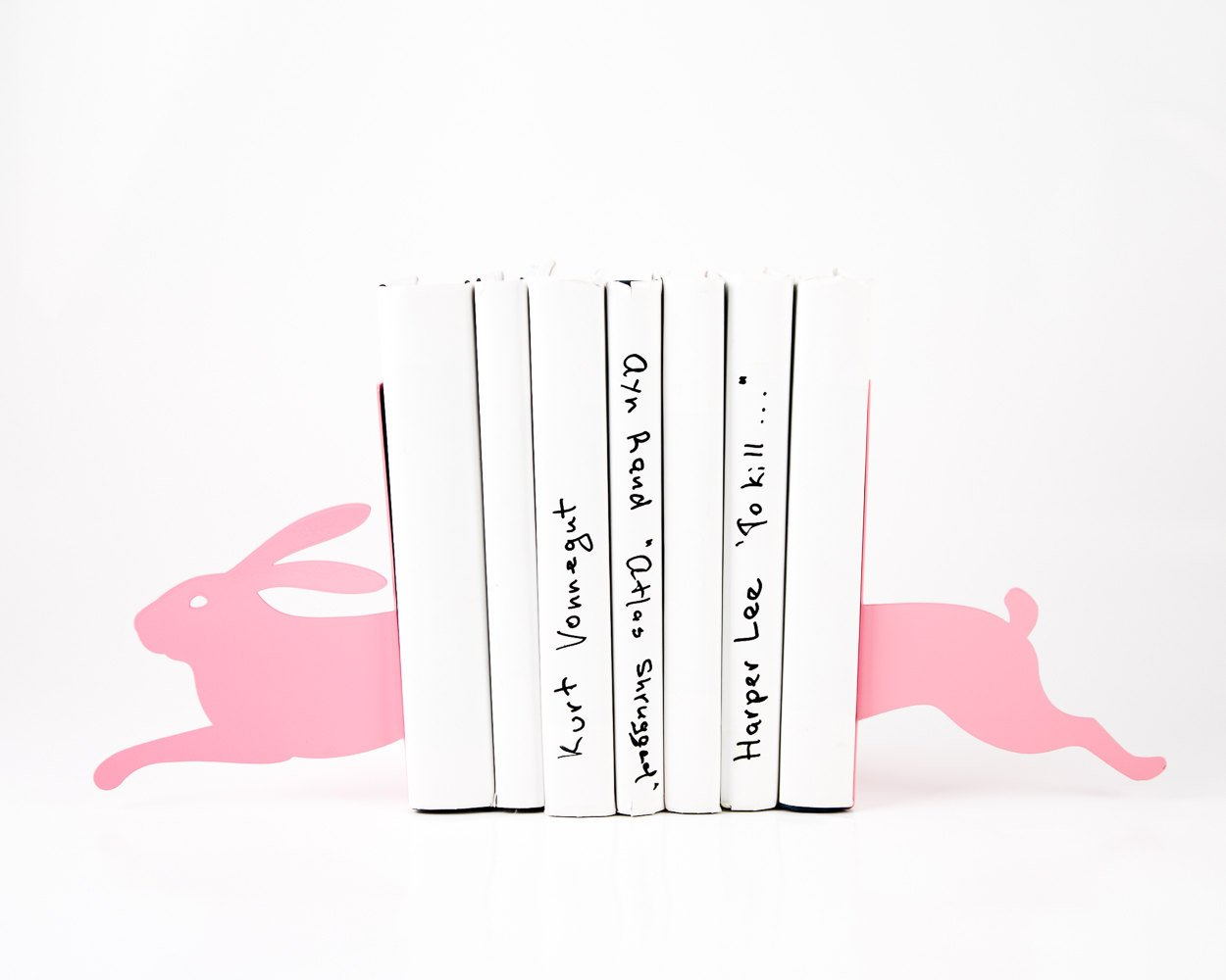 Modern nursery bookends - Hare on the run pink - // childrens bookends / woodland nursery // modern home // bookshelf decor // FREE SHIPPING