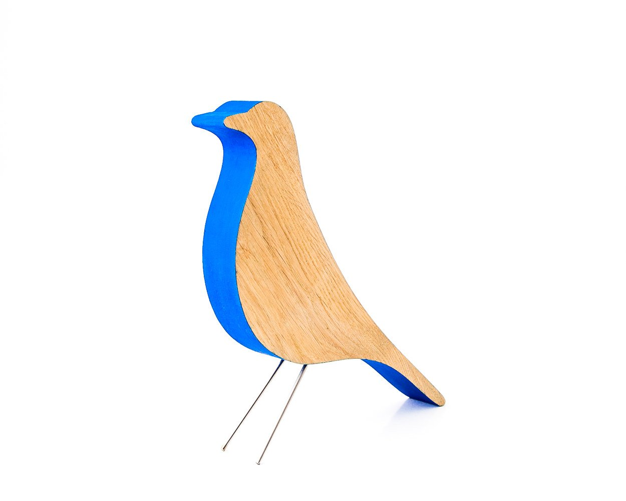 Eames bird remake // modern home decor // design icon simplified deep blue and natural wood // housewarming present // wedding gift - Design Atelier Article