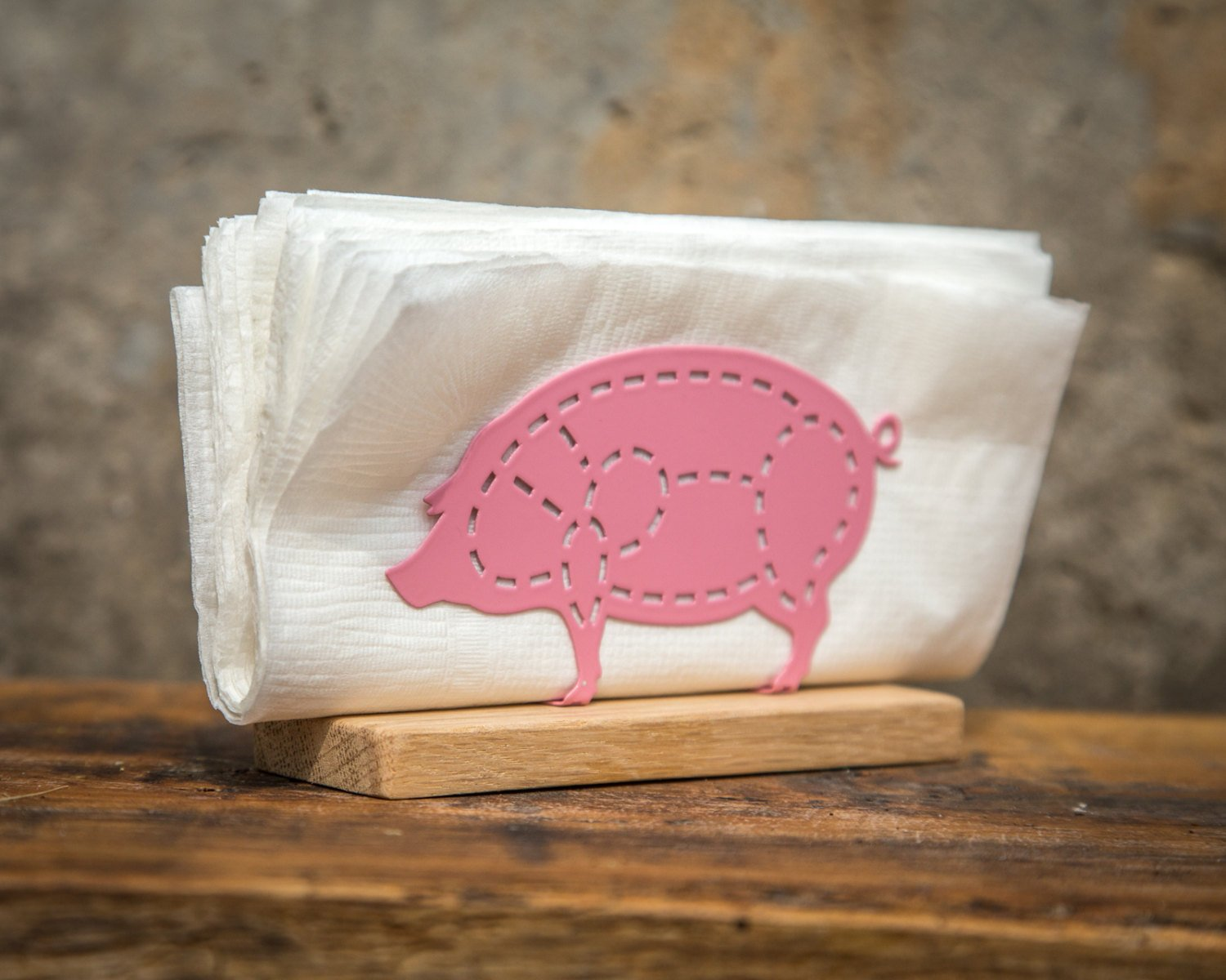 Metal napkin holder PIG on a wooden base // Kitchen decor // housewarming present // Christmas gift