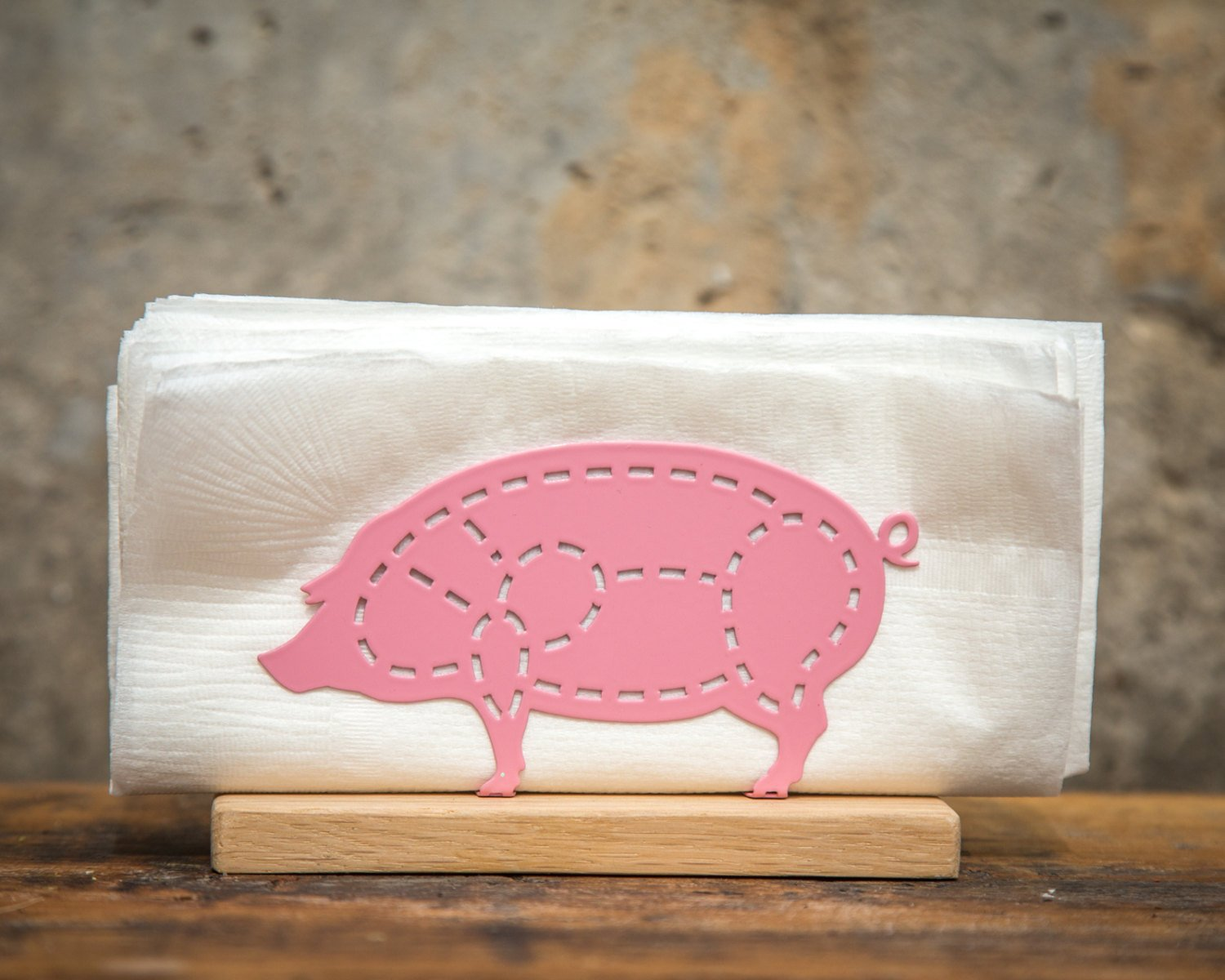 Napkin holder PIG on a wooden base // Kitchen decor by Atelier Article - Design Atelier Article