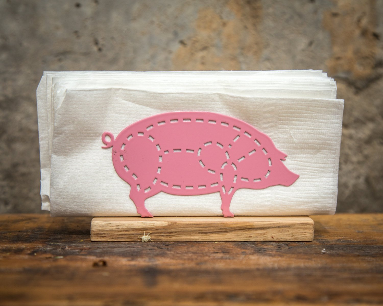 Metal napkin holder PIG on a wooden base // Kitchen decor // housewarming present // Christmas gift - Design Atelier Article