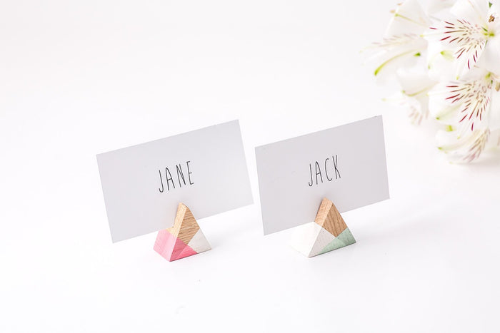 Name Card Holders / Trianglular shape / Perfect Modern Wedding Reception - Design Atelier Article