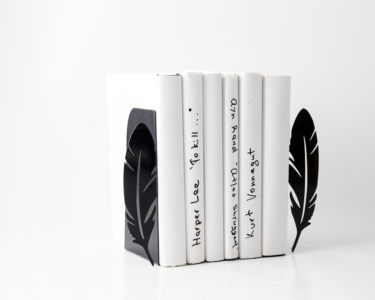 Metal Bookends Feathers // functional  home decor for your book shelf // FREE SHIPPING - Design Atelier Article