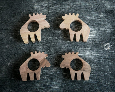 Napkin ring Moose wooden SET of 4  solid wood for your considered setting wedding or theme party - Design Atelier Article