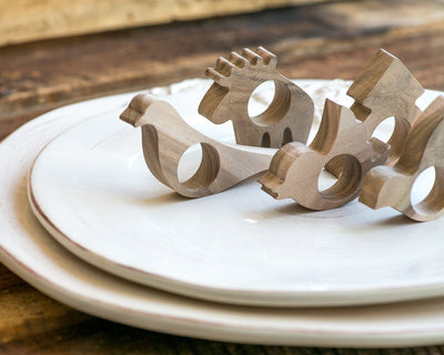 Napkin rings Pigeon bird wooden SET of 4 rings table decor for your table setting wedding or theme party - Design Atelier Article