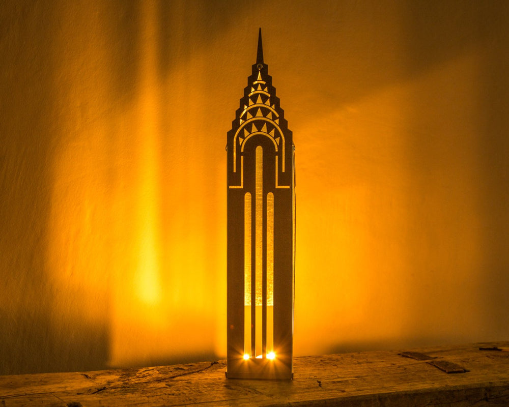 Tin house candle holder Chrysler Building. Charming piece of decor to use as a candle holder or just a strong eye catcher