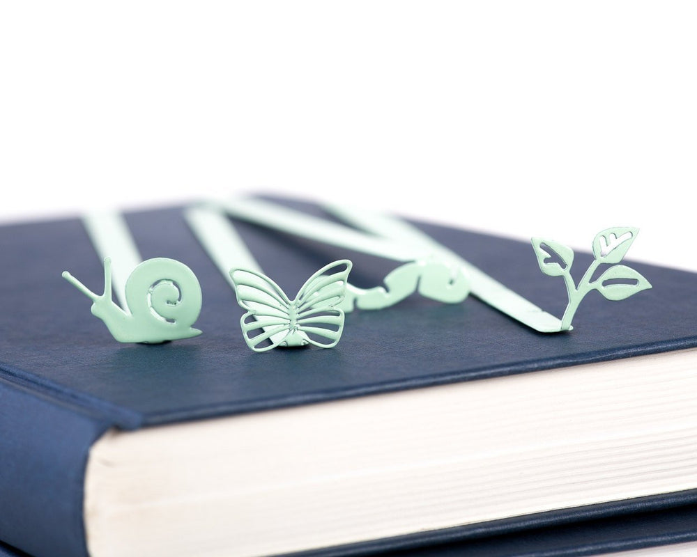 Metal Bookmark // Happy Bookworm mint color // Present for book lover //gift packaging ready to give // Free shipping // stocking stuffer - Design Atelier Article