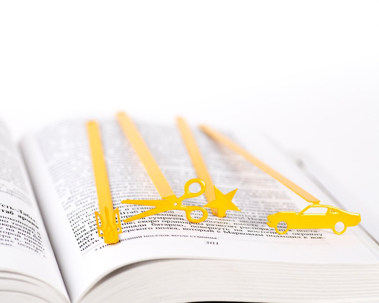 Metal Book Bookmark Scissors //  Unique design book accessory // YELLOW // Stylish present for a book lover // Free shipping - Design Atelier Article