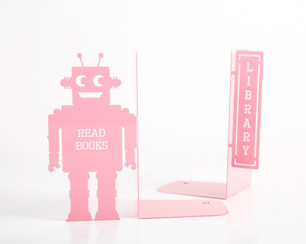 Nursery Bookends // Robots read too II Pink by Atelier Article - Design Atelier Article
