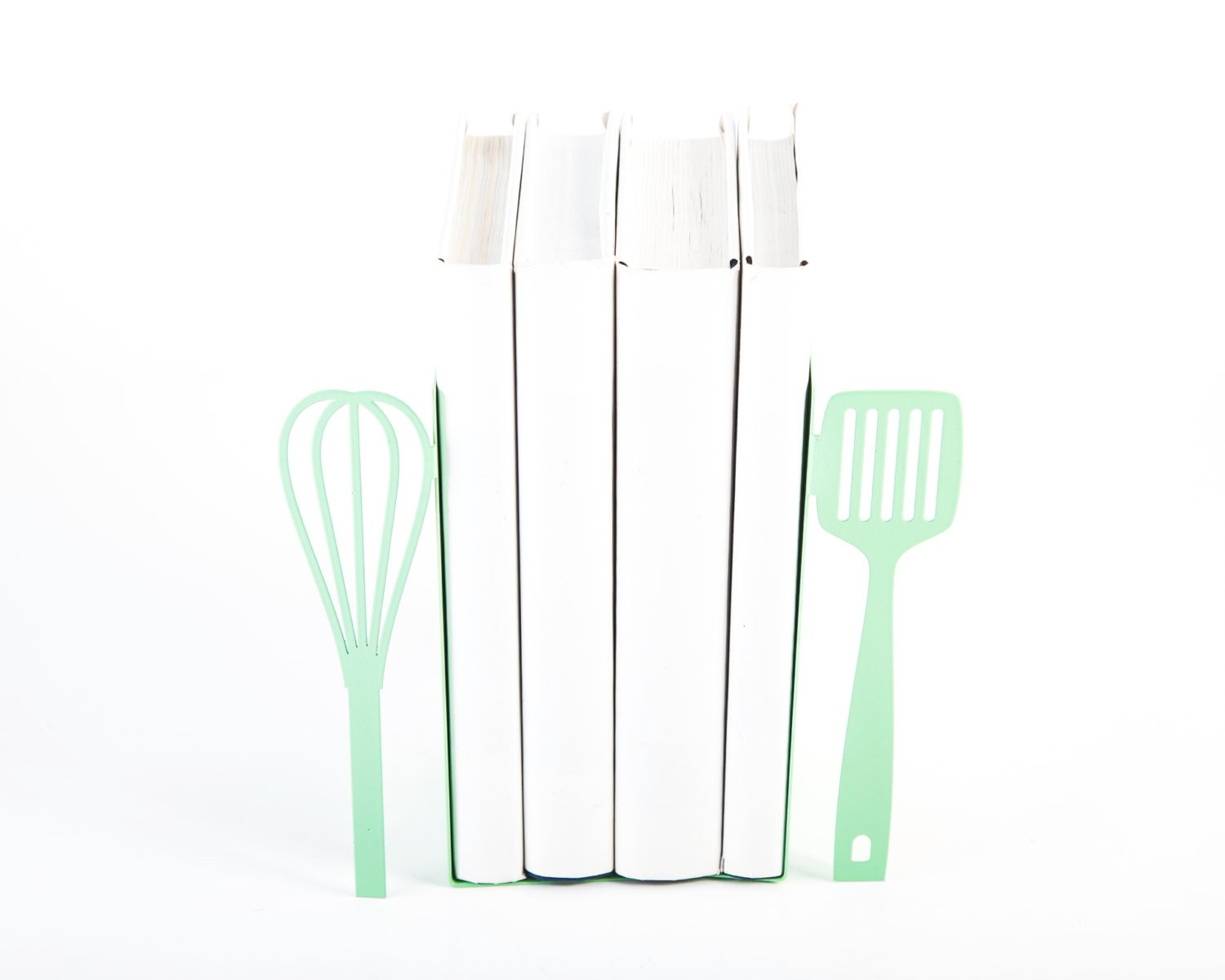 Metal Kitchen Bookends Spatula and whisk // Mint // functional kitchen decor // FREE SHIPPING - Design Atelier Article
