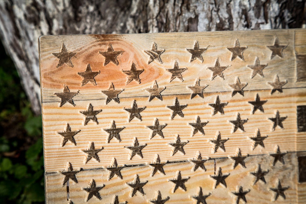 Large USA Wood Wall Art // Carved American Flag Wall Hanging by Atelier Article