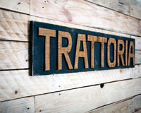 Sign Trattoria wooden retro style sign carved in salvaged wood hand painted wall decor personalisation customisation