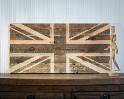 Wall art Union Jack flag wooden carved edition  FREE SHIPPING  retro style sign carved in salvaged palette wood personalisation possible
