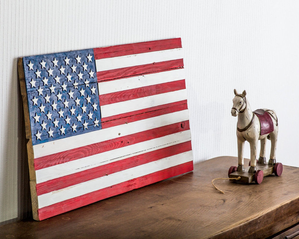 Wall art USA flag wooden carved edition  FREE SHIPPING  retro style sign carved in salvaged palette wood hand painted