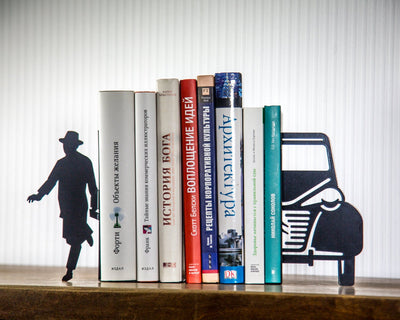 Unique Metal Bookends // book holders // Writer and a car // shelf decor // modern home decor // housewarming present // FREE SHIPPING