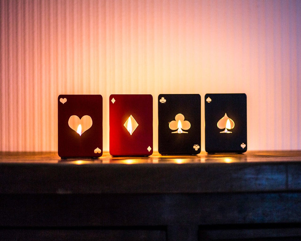 Four candle holders - Playing lights - // game of cards // Man cave decor // Free shipping - Design Atelier Article