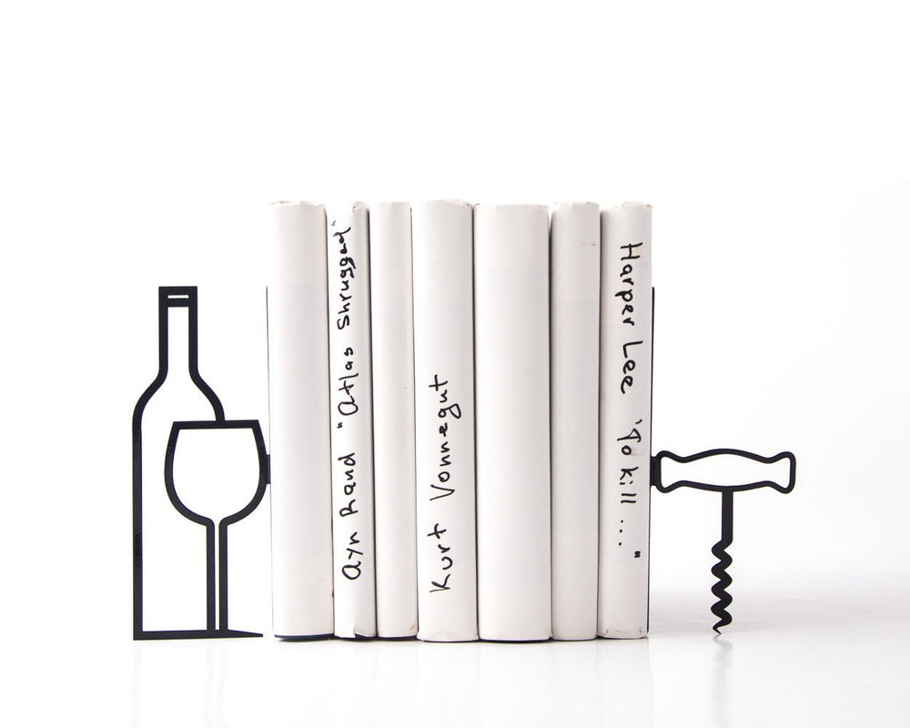Kitchen bookends // Less whine more wine // man's cave shelf decor by Atelier Article - Design Atelier Article