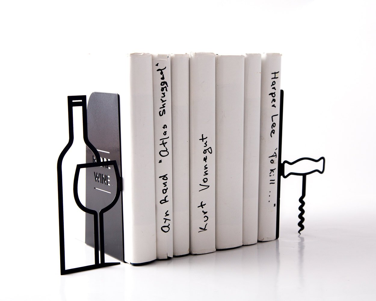 Metal Kitchen bookends // Less whine more wine // modern home decor // bar bookends // A man cave must // FREE SHIPPING / housewarming gift - Design Atelier Article