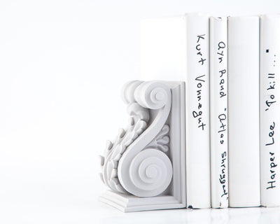 Neocalssical Bookends // 2 Lucite White Classic Plaster // Classical Acanthus Corbel Book holders for sophisticated home // FREE SHIPPING - Design Atelier Article
