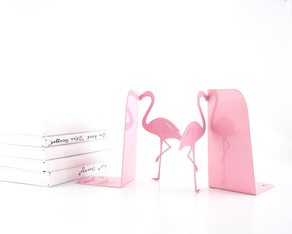 Metal Bookends Flamingos // Book holders // Mod Decor Makes a Great Housewarming Gift // Christmas present for a book lover // FREE SHIPPING - Design Atelier Article