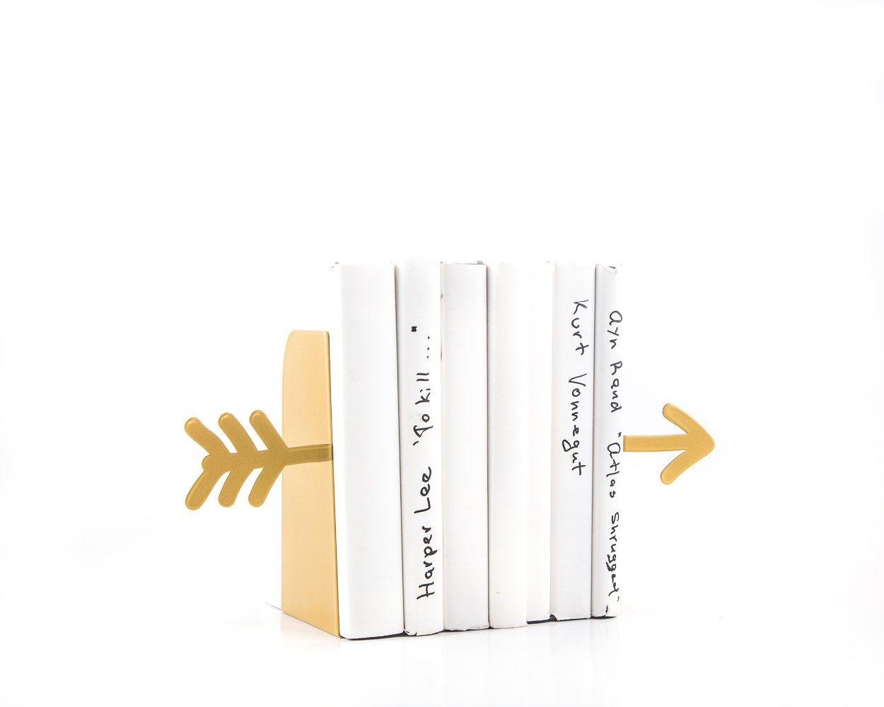 Metal Bookends Golden Arrow // functional decor modern home // present bookworm // FREE SHIPPING // golden decor // novelty birthday gift