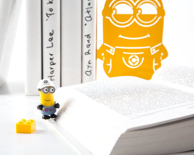 Salе 30% OFF Children's Bookends Minions Yellow // Metal Bookshelf Decor for a Bright Colorful Kid's Room // Free Shipping Worldwide