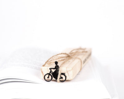 Metal Bookmark for books // Lady on a bike - Design Atelier Article