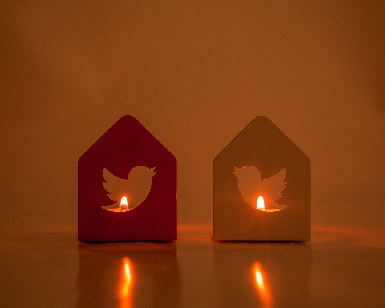 Two metal Candle holders - A Pair of Twitter birds - // modern home decor // housewarming gift // christmas / valentines day / FREE SHIPPING