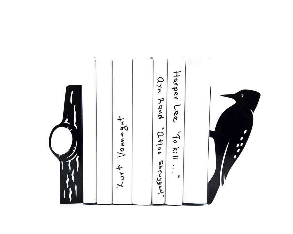 Metal Bookends - Woodpecker - // woodland theme / FREE  SHIPPING - Design Atelier Article