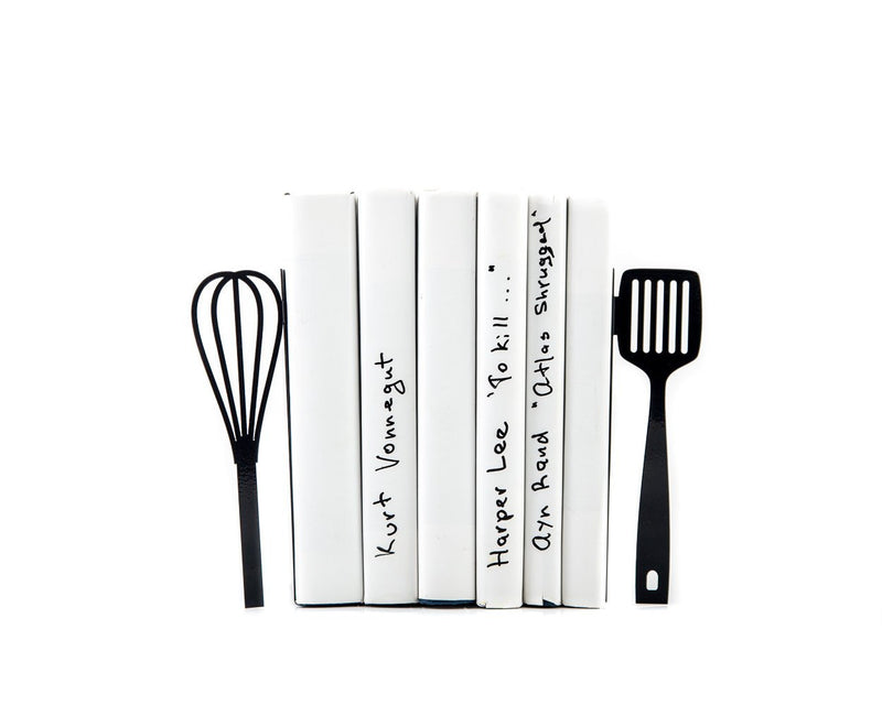 Metal Kitchen Bookends // Spatula and whisk // functional modern kitchen decor // housewarming gift // floating shelf decor// FREE SHIPPING - Design Atelier Article
