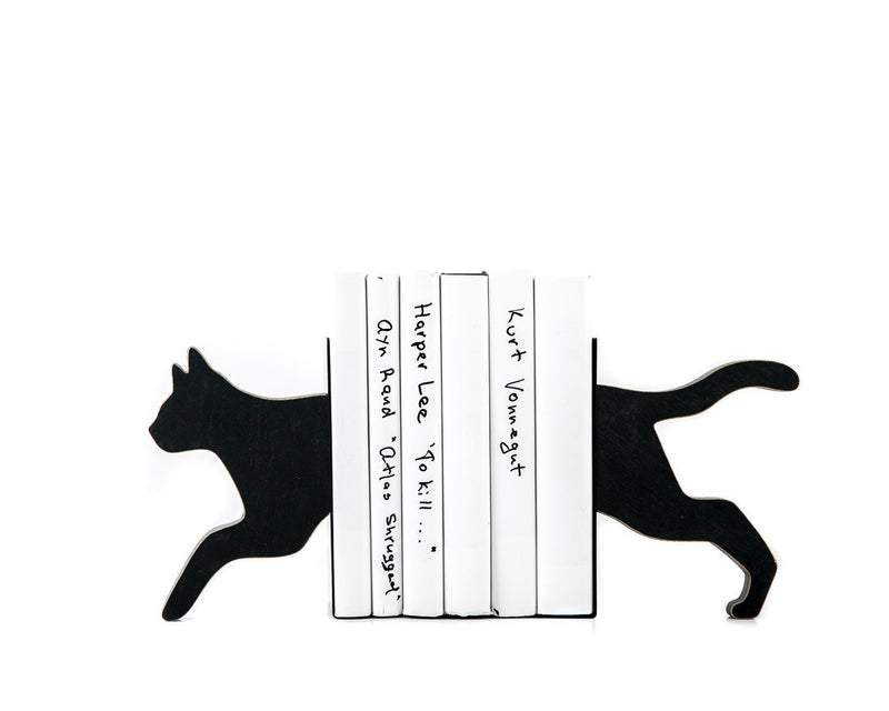 Wooden Bookends - Running Cat - Decorative book holders // housewarming gift for a booklover // FREE WORLDWIDE SHIPPING