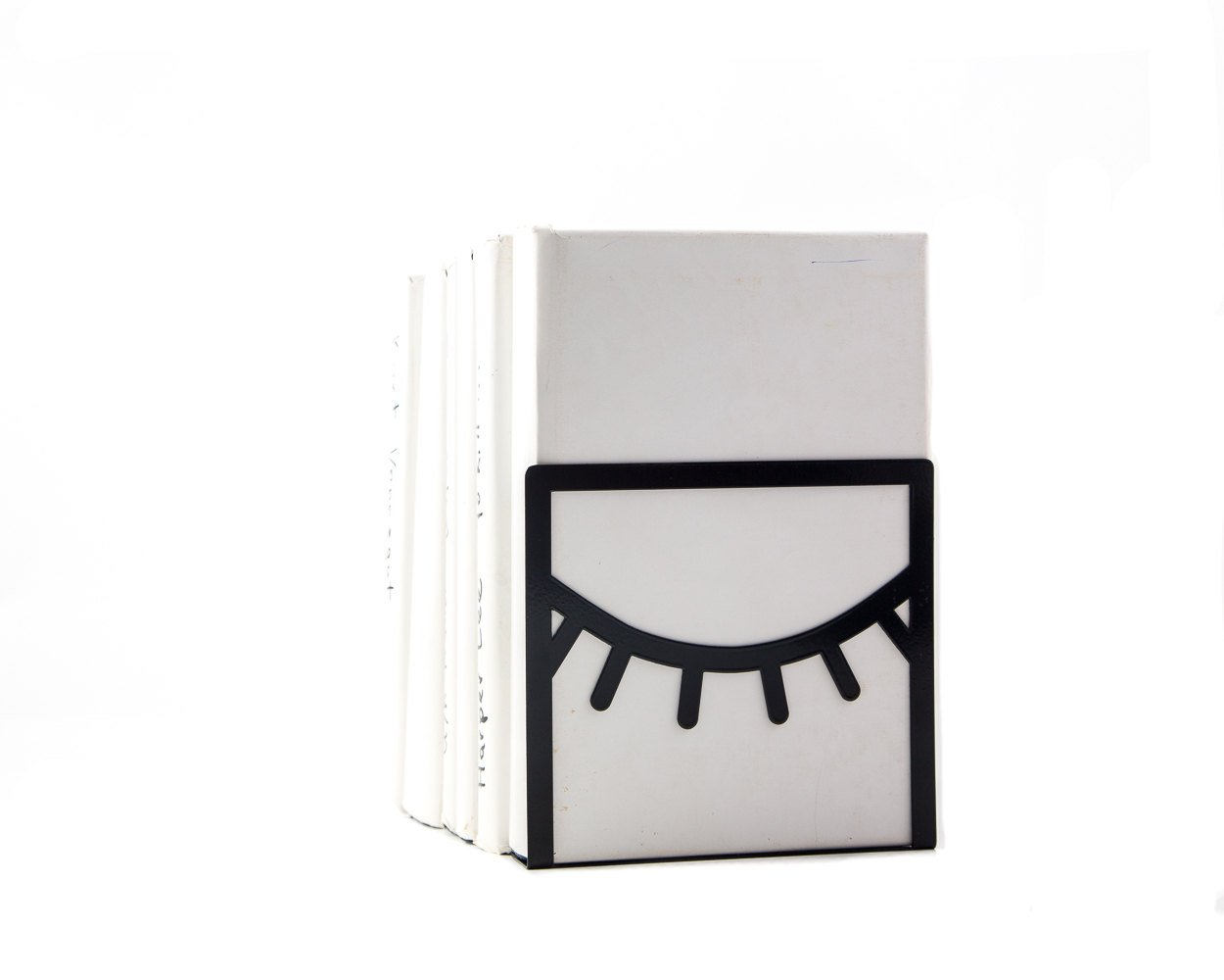 A unique bookend One Eye Closed black // decorative book holder for modern home // housewarming gift // FREE SHIPPING WORLDWIDE
