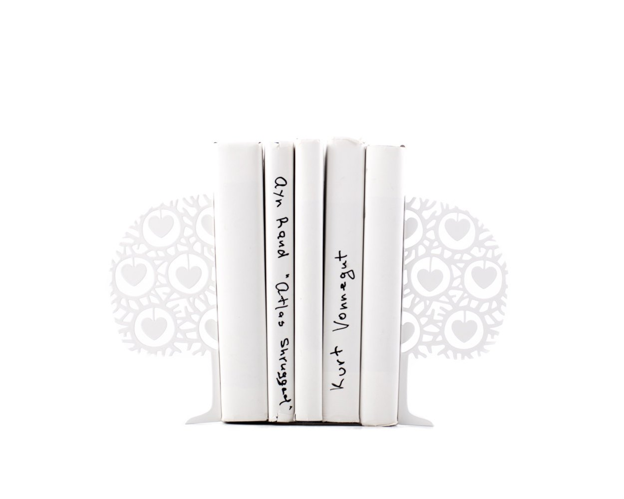 Minimalistic bookends - Danish heart tree - FREE SHIPPING Scandinavia inspired functional decor (white) // book holders // gift for reader - Design Atelier Article