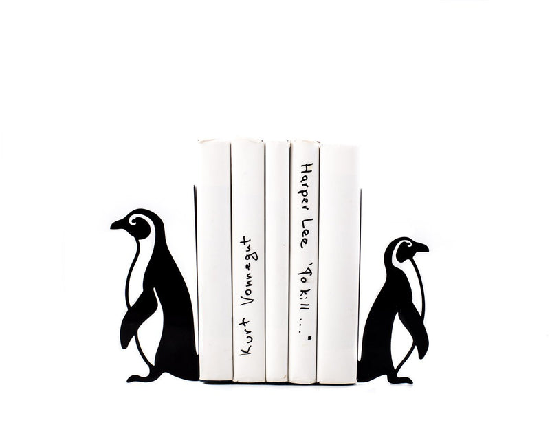 Unique design bookends - Penguins - artistic and decorative decor for your library // functional shelf decor for nursery // FREE SHIPPING