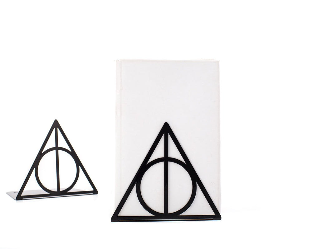 Metal bookends Deathly Hallows Harry Potter Inspired // Book holders for beloved classic tale, loved by all ages // FREE SHIPPING - Design Atelier Article