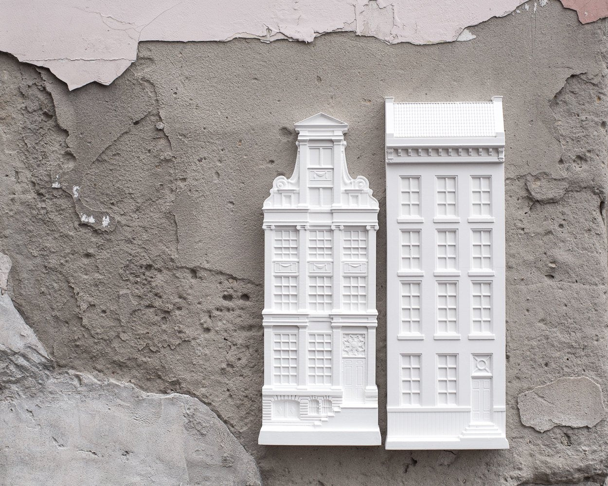 Perfect Gift Architectural Plaster Model Facade Of A House In Amsterdam.  Unique Wall Art.