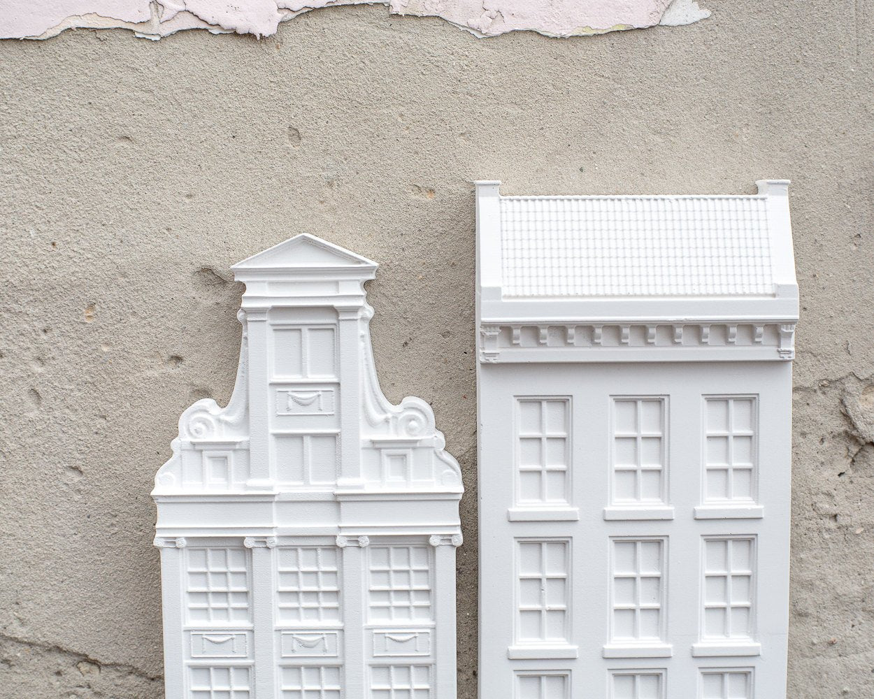 Two Architectural plaster models Facades of Amsterdam Houses I and II. Unique wall art. Perfect gift for architecture and design lover.