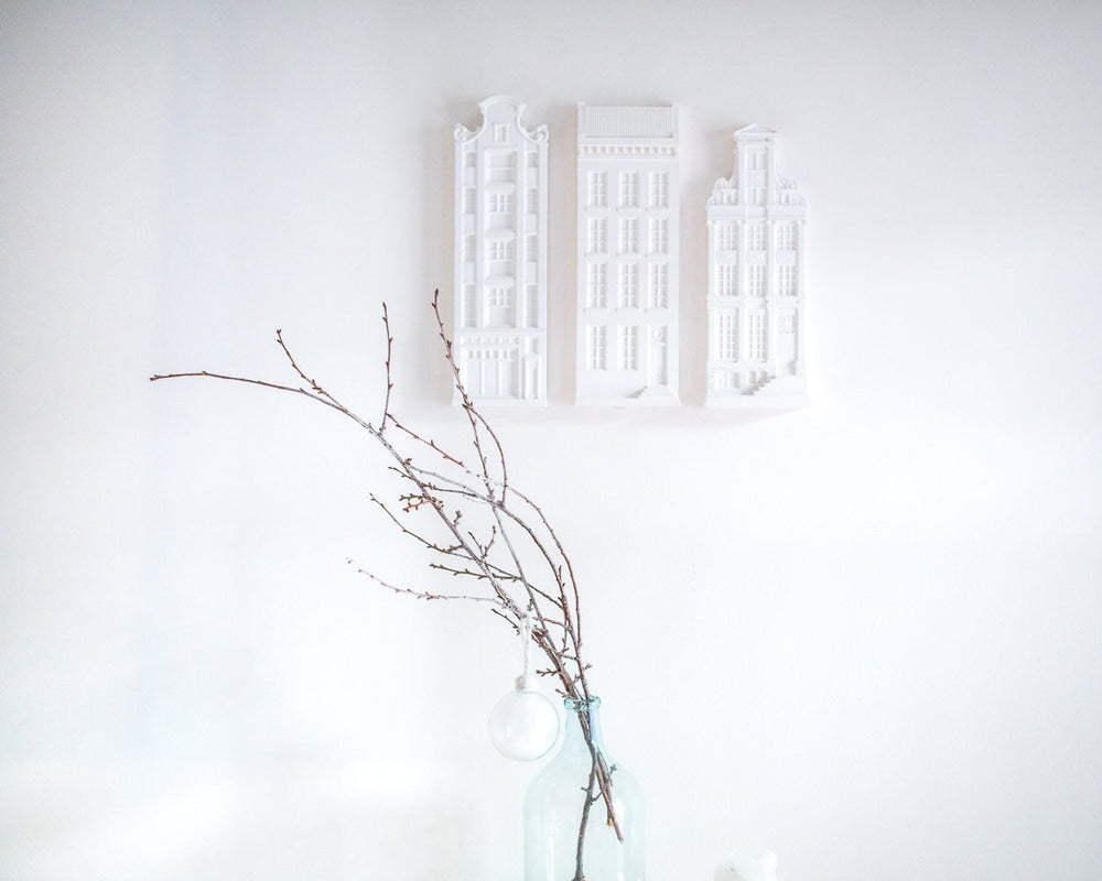 Three Architectural plaster models // Facades of Amsterdam Houses // Unique wall decor for architecture and design lover // FREE SHIPPING
