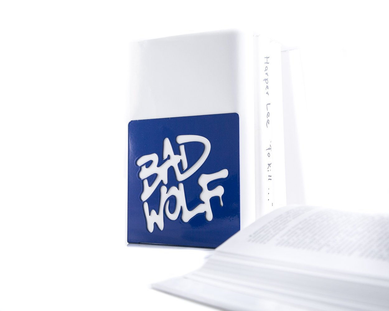 Metal bookends Tardis Police Box Blue Phone Booth with Bad Wolf Graffiti Dr Who inspired - Design Atelier Article