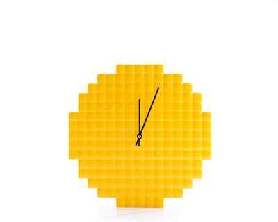 Wall clock Yellow Pixel // Pixel shape 3d pattern cut, shiny glossy paint // bright nursery decor //  colorful house perfect