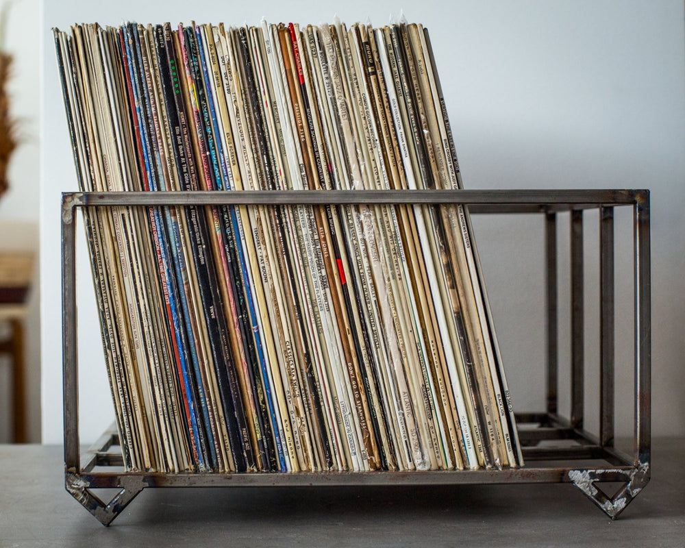LP storage metal crate // container holds over 80 LP records - Design Atelier Article