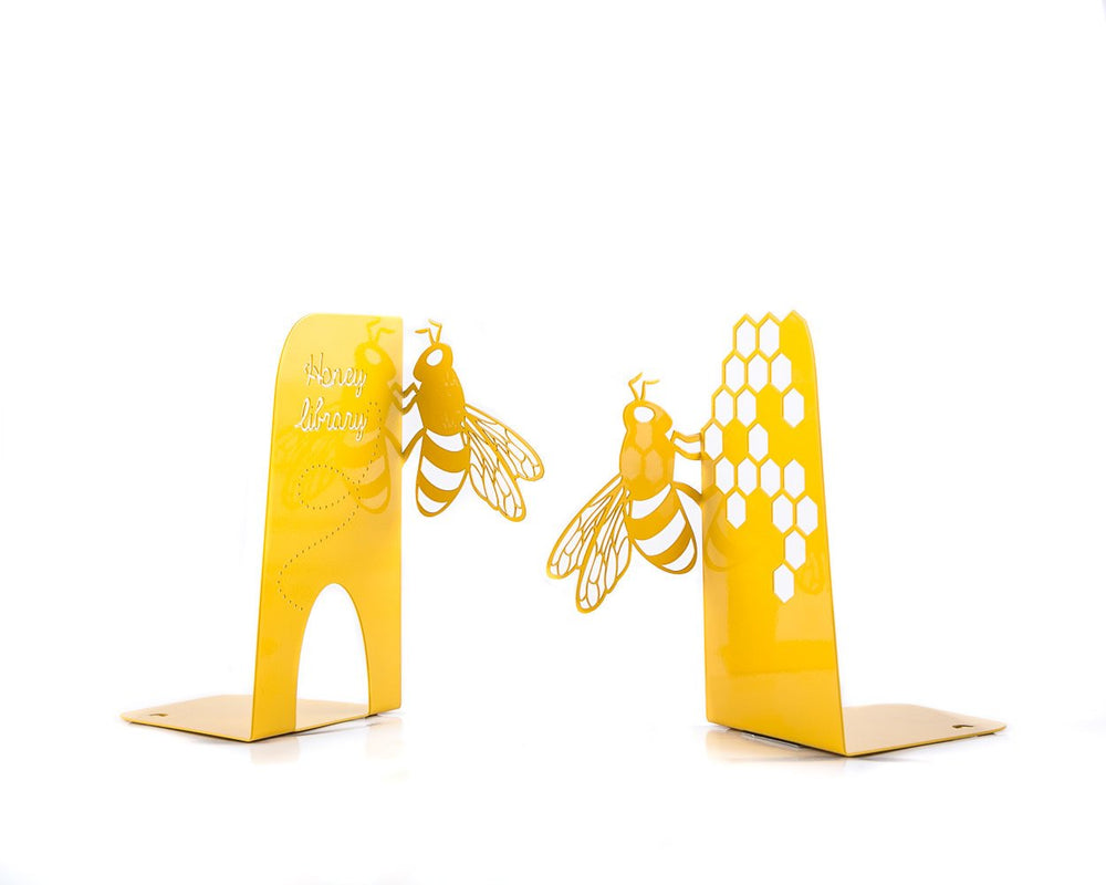 Metal Bookends Bee Library // Childrens room bookends // Kid's Room Decor // Nursery Bee theme // Free Shipping - Design Atelier Article