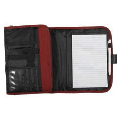 Red Polyester Trifold Organizer Bible Cover with Engraved Ichthus Badge.