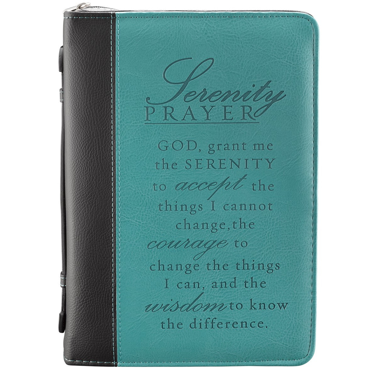 Serenity Prayer Two-tone Aqua Faux Leather Classic Bible Cover